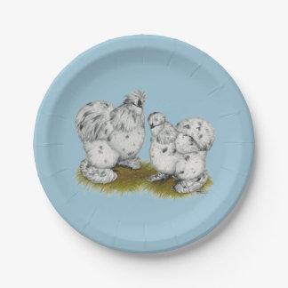 Pollos pequenos del chapoteo de Silkie Platos De Papel