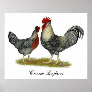 Pollos poner crema de Legbar Posters