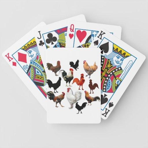 Pollos rústicos del vintage del collage del gallo baraja cartas de poker