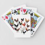 Pollos rústicos del vintage del collage del gallo barajas de cartas