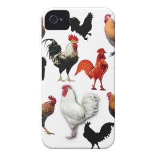Pollos rústicos del vintage del collage del gallo Case-Mate iPhone 4 cobertura