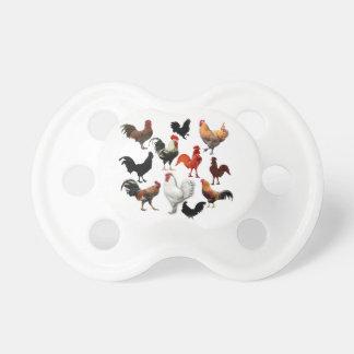 Pollos rústicos del vintage del collage del gallo chupetes de bebe