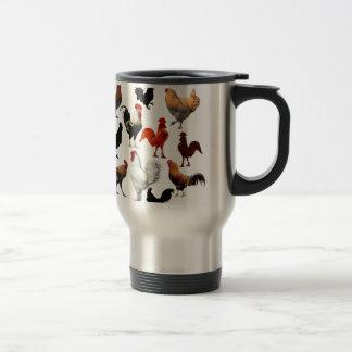 Pollos rústicos del vintage del collage del gallo taza de café