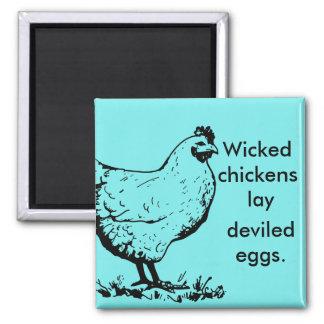 Pollos traviesos imán cuadrado