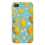 Pollos y Catkins Pern de Pascua iPhone 4 Cárcasa
