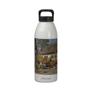 Pollos y Hollyhocks del vintage Botella De Agua Reutilizable