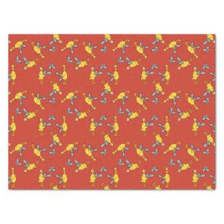 Pollos y papel seda del rojo de las motosierras papel de seda mediano