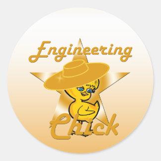 Polluelo #10 de la ingeniería pegatina redonda
