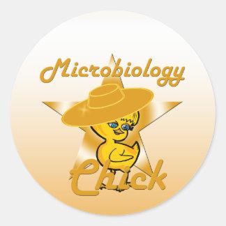 Polluelo #10 de la microbiología pegatina redonda