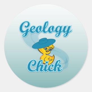 Polluelo #3 de la geología pegatina redonda