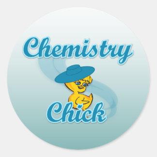 Polluelo #3 de la química pegatina redonda