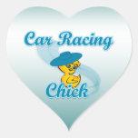 Polluelo #3 de las carreras de coches pegatina de corazón