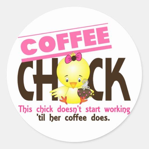 Polluelo 3 del café pegatina redonda