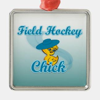 Polluelo #3 del hockey hierba adorno navideño cuadrado de metal