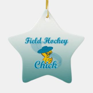 Polluelo #3 del hockey hierba adorno navideño de cerámica en forma de estrella