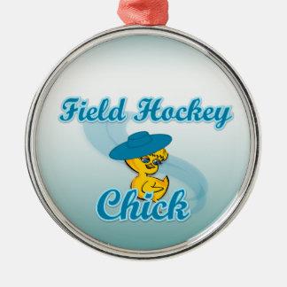 Polluelo #3 del hockey hierba adorno navideño redondo de metal