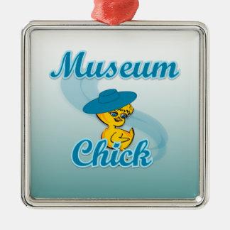 Polluelo #3 del museo adorno navideño cuadrado de metal