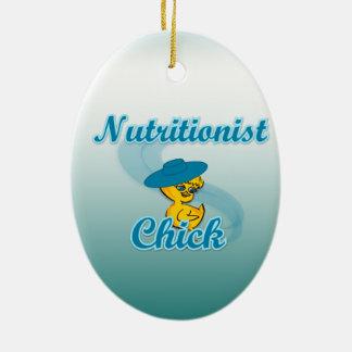 Polluelo #3 del nutricionista adorno navideño ovalado de cerámica