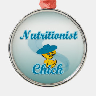 Polluelo #3 del nutricionista adorno navideño redondo de metal