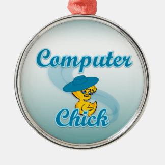 Polluelo #3 del ordenador adorno redondo plateado