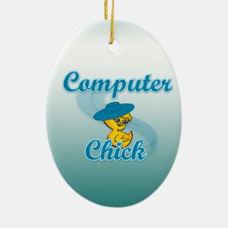 Polluelo #3 del ordenador adorno ovalado de cerámica