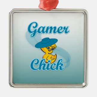 Polluelo #3 del videojugador adorno cuadrado plateado
