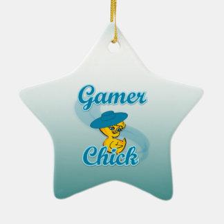 Polluelo #3 del videojugador adorno de cerámica en forma de estrella