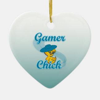 Polluelo #3 del videojugador adorno de cerámica en forma de corazón