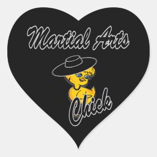 Polluelo #4 de los artes marciales pegatina en forma de corazón