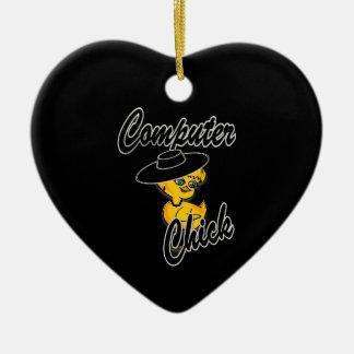 Polluelo #4 del ordenador adorno de cerámica en forma de corazón