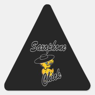 Polluelo #4 del saxofón pegatina triangular