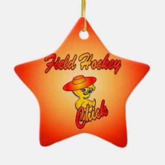 Polluelo #5 del hockey hierba adorno navideño de cerámica en forma de estrella