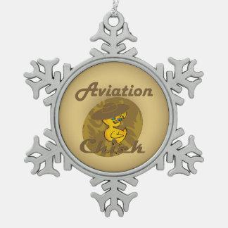 Polluelo #6 de la aviación adorno de peltre en forma de copo de nieve