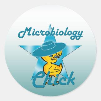 Polluelo #7 de la microbiología pegatina redonda