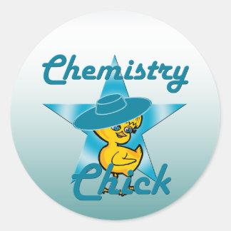 Polluelo #7 de la química pegatina redonda