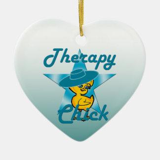 Polluelo #7 de la terapia adorno navideño de cerámica en forma de corazón