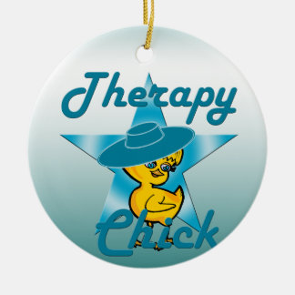 Polluelo #7 de la terapia adorno navideño redondo de cerámica