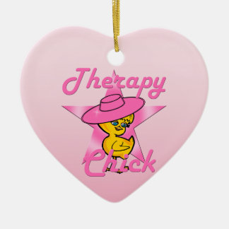 Polluelo #8 de la terapia adorno navideño de cerámica en forma de corazón