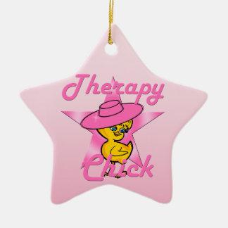 Polluelo #8 de la terapia adorno navideño de cerámica en forma de estrella