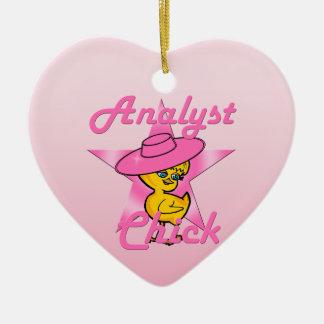 Polluelo #8 del analista adorno navideño de cerámica en forma de corazón