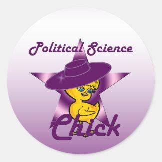 Polluelo #9 de la ciencia política pegatina redonda