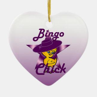 Polluelo #9 del bingo adorno navideño de cerámica en forma de corazón