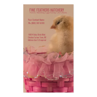 Polluelo amarillo del bebé en criadero rosado de l tarjeta de visita