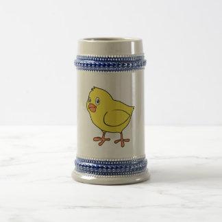 Polluelo amarillo feliz lindo jarra de cerveza