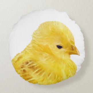 Polluelo amarillo lindo del bebé cojín redondo
