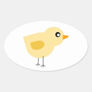 Polluelo amarillo lindo pegatina ovalada