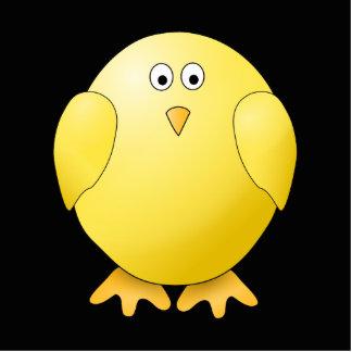 Polluelo amarillo lindo. Pequeño pájaro en negro Fotoescultura Vertical