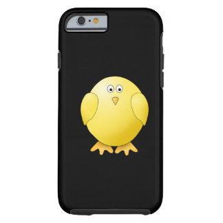 Polluelo amarillo lindo. Pequeño pájaro en negro Funda De iPhone 6 Tough