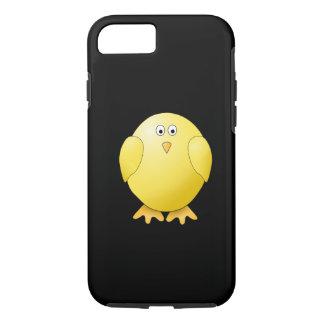 Polluelo amarillo lindo. Pequeño pájaro en negro Funda iPhone 7
