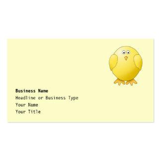 Polluelo amarillo lindo. Pequeño pájaro Tarjeta De Visita